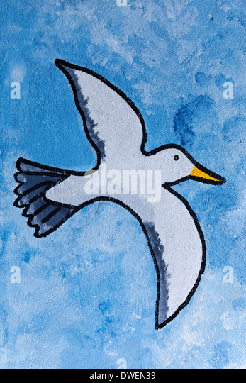 Seagull painting, Westward Ho!, Devon, England - Stock Image