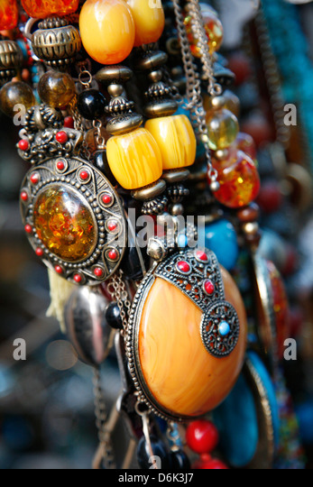 Jewellery at the flea market in Jaffa, Tel Aviv, Israel, Middle East - Stock Image