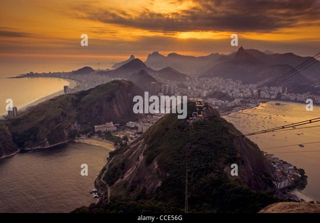 Sunset over Copacabana and Botafogo, Rio de Janeiro from Sugarloaf Mtn. Brazil - Stock Image