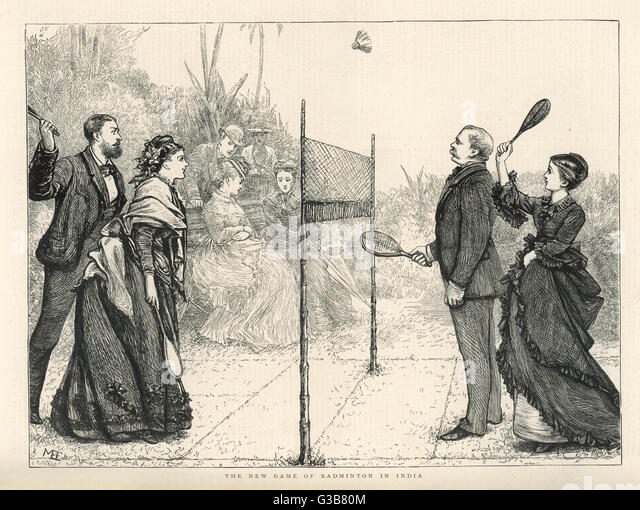Two couples enjoy a game of  badminton in India.         Date: 1874 - Stock Image