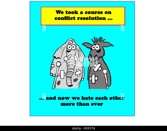 Political cartoon about the Republicans and Democrats not getting along. - Stock Image