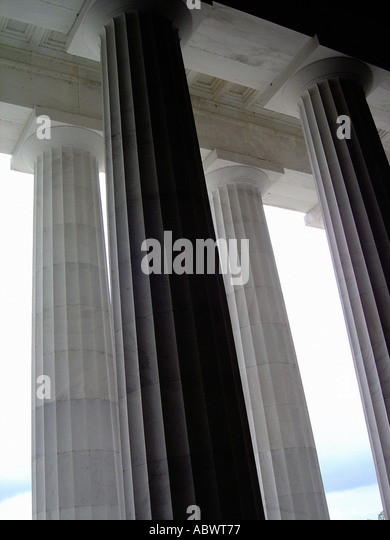 Columns at Lincoln Memorial Washington DC USA - Stock Image