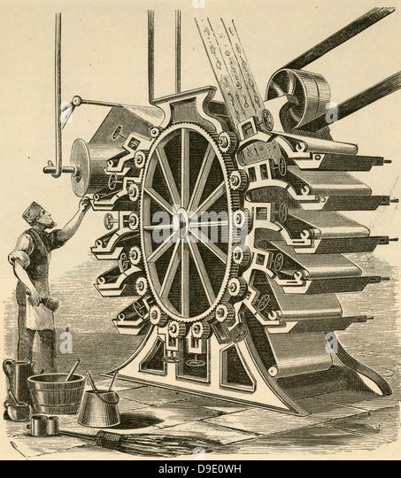Printing wallpaper. Engraving 1876. - Stock-Bilder