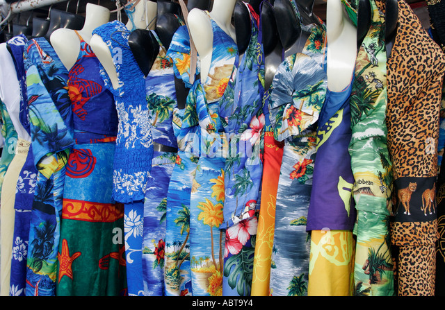 BVI Tortola Tent Village Road Town Cruise Port dresses for sale - Stock Image
