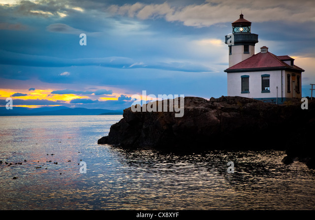 Lime Kiln lighthouse on San Juan Island, Washington - Stock Image