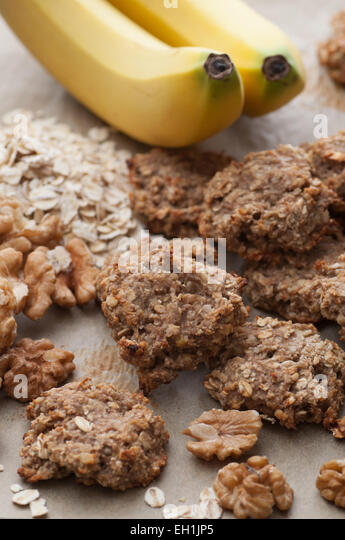 Three ingredients cake. Banana, oat and walnut. - Stock Image