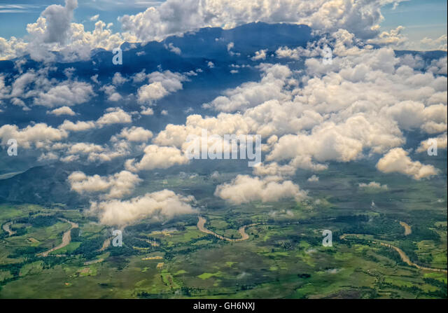 Aerial view from Wamena airport to Jayapura  Taken @Baliem valley to Jayapura, Indonesia, Asia, South East Asia - Stock Image