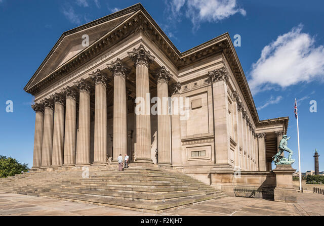 St. George's Hall south entrance where the registry office conducts wedding. - Stock Image