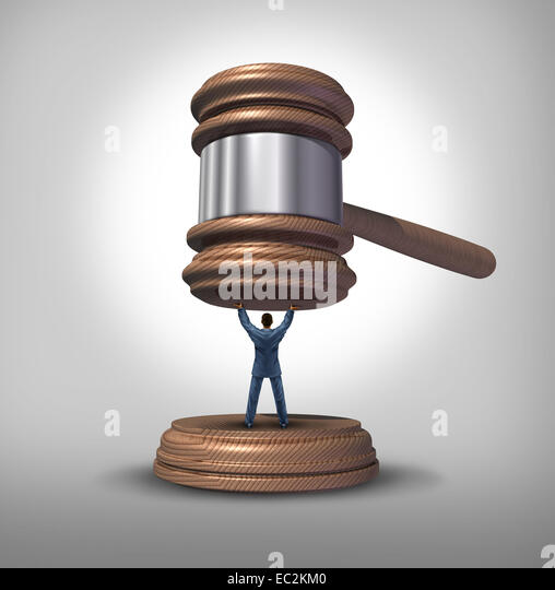 Legal protection and law advice concept as an attorney blocking a gavel or judge mallet from completing a verdict - Stock Image