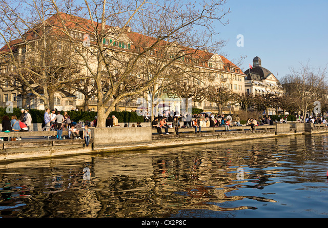 Zurich lake promenade , Panorama, Switzerland Zuerich, - Stock Image
