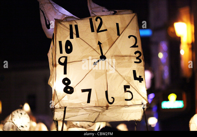 Revellers take part in the annual Burning the Clocks Winter Solstice Parade through the streets of Brighton. By - Stock-Bilder
