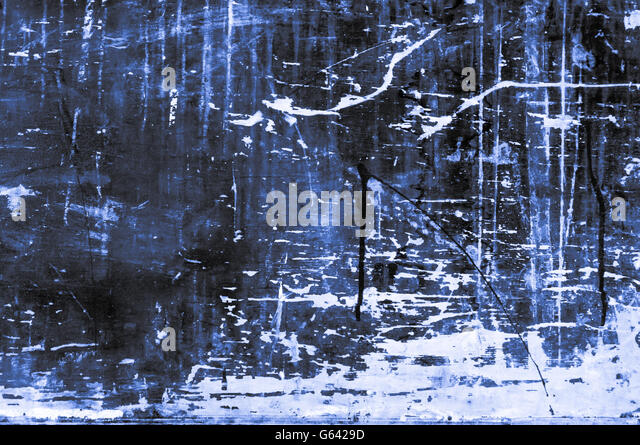 Excellent bluish wooden timber board background of rough construction material with dynamic drops and scratches - Stock Image