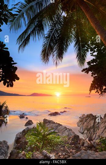 Thailand - Phuket Island, Patong Beach, sunset time scenery - Stock Image