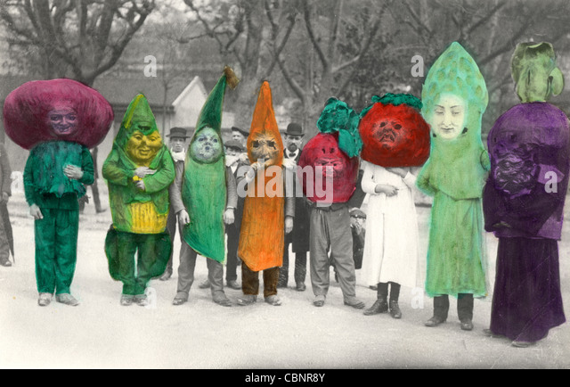 Eight Vegetable People - Stock Image