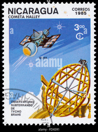 NICARAGUA - CIRCA 1985: a stamp printed in Nicaragua shows Tycho Brahe Observatory, Halley Comet - Stock Image