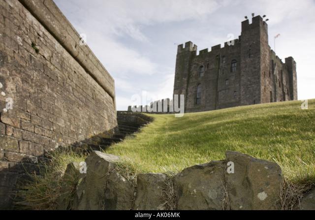 UK, England, Bamburgh, Bamburgh Castle 1050 Norman style, pele tower, - Stock Image