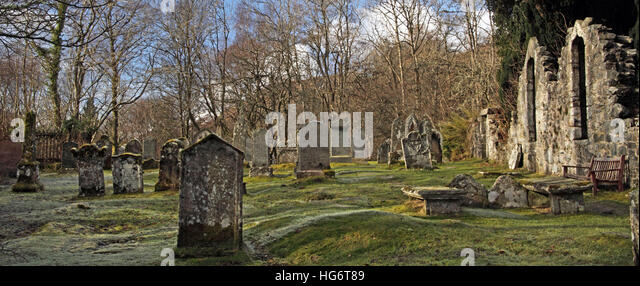 Balquhidder haunting Graveyard,Sterling,Scotland, UK - Rob Roy Red MacGregors resting place - Stock Image