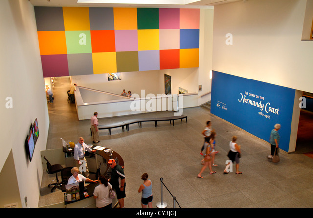 Maine Portland Congress Square Portland Museum of Art lobby front desk - Stock Image