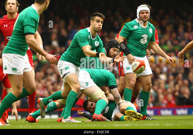 Cardiff, Wales. 14th Mar, 2015. 6 Nations International Rubgy Championship. Wales versus Ireland. Conor Murray (Ireland) - Stock-Bilder