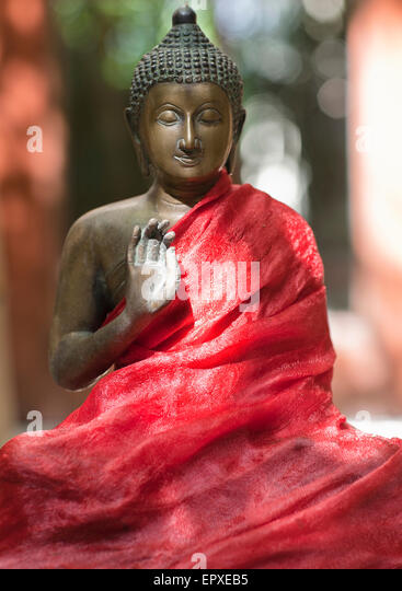 Buddha statue at Ananda Spa, Ananda in the Himalayas, The Palace Estate, Narendra Nagar, Tehri Garhwal, Uttarakhand, - Stock Image