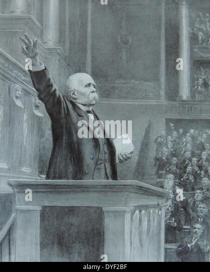Georges Clemenceau addressing the chamber of deputies. - Stock Image