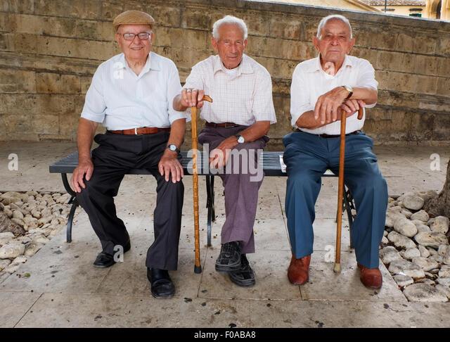 THREE SICILIAN GENTLEMEN,NOTO,SICILY,ITALY - Stock Image