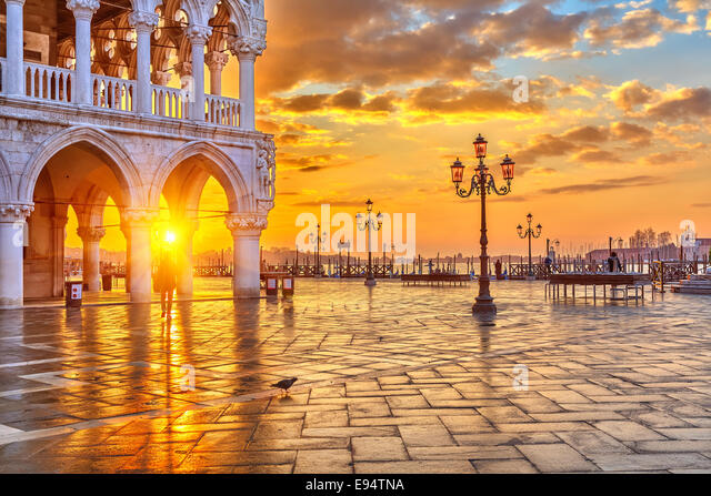 Sunrise in Venice - Stock Image