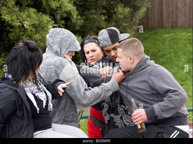 Gang Of Youths Fighting - Stock Image