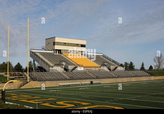 The football stadium at Gustavus Adolphus College in St. Peter, Minnesota, empty. - Stock Image