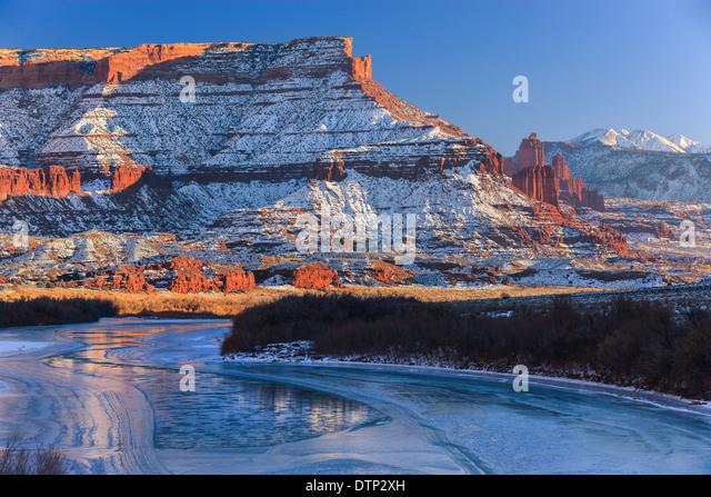 Winter sunset at the Fisher Towers, near Moab, Utah - USA - Stock-Bilder