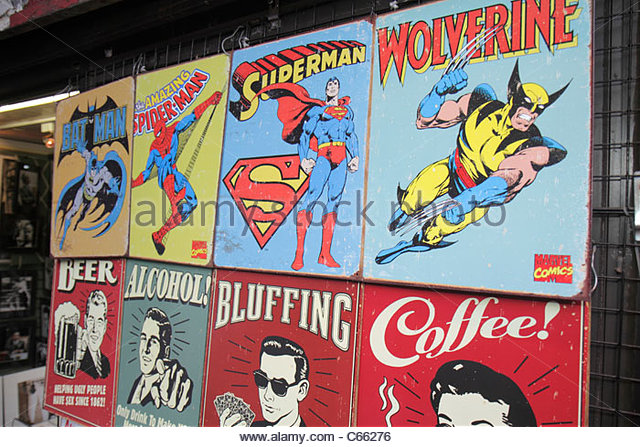 Lower Manhattan New York City NYC NY Mulberry Street Little Italy souvenir store display comic book super heroes - Stock Image