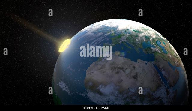 Meteor impact, artwork - Stock Image