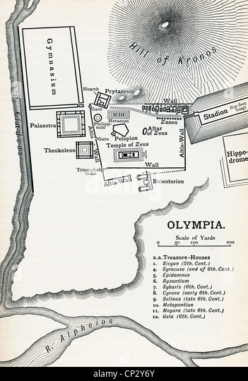 Plan of Olympia, Elis, Greece. Site of the Olympic Games in classical times. From a History of Greece, published - Stock Image