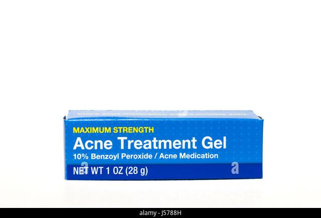 Acne Treatment Gel containing benzoyl peroxide. - Stock Image