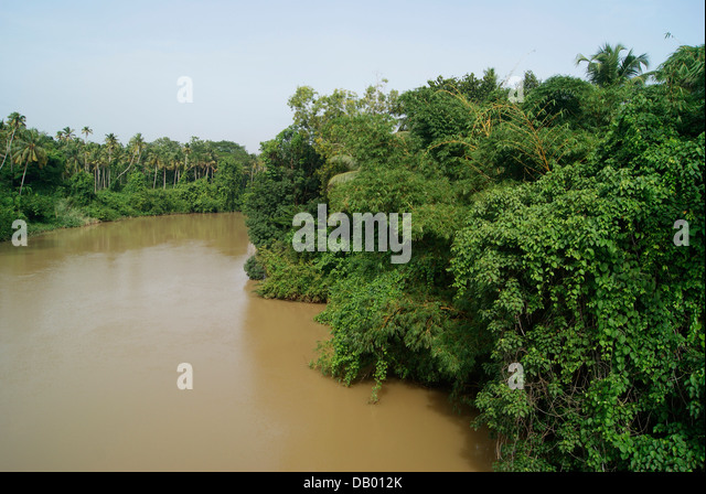 Vamanapuram River water overflow flood during Kerala Monsoon Season India - Stock Image