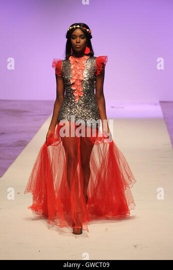 LONDON, UK - September 10: Mustafa Hassanali, A Tanzanian fashion designer is showcased at AFWL  © David Mbiyu/Alamy - Stock Image