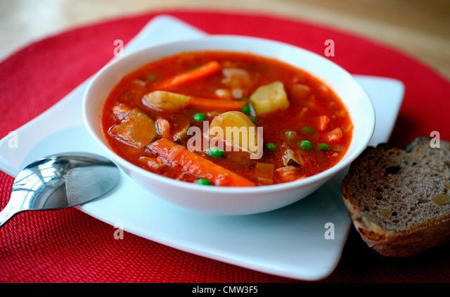 Close-up of vegetable soup - Stock-Bilder