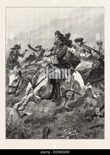 BATTLES OF THE BRITISH ARMY: RAMILLIES; NARROW ESCAPE OF MARLBOROUGH FROM FRENCH DRAGOONS. The Battle of Ramillies - Stock Image