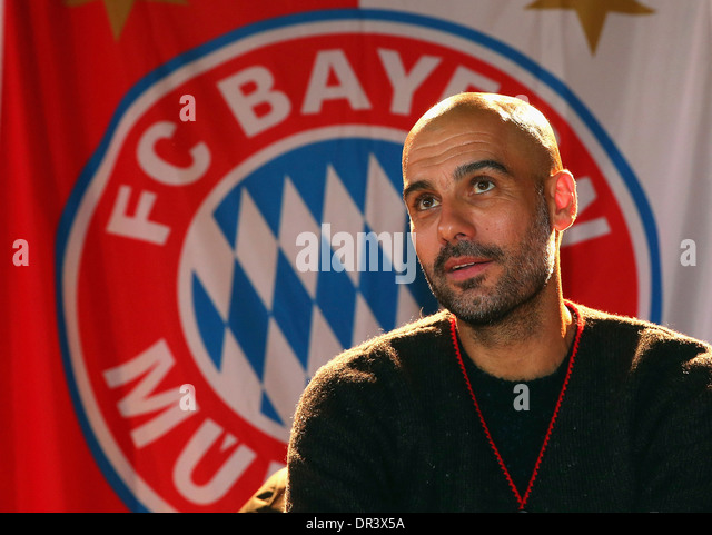 Josep 'Pep' Guardiola, head coach of German Football Bundesliga Club FC Bayern Munich in front of the club - Stock Image