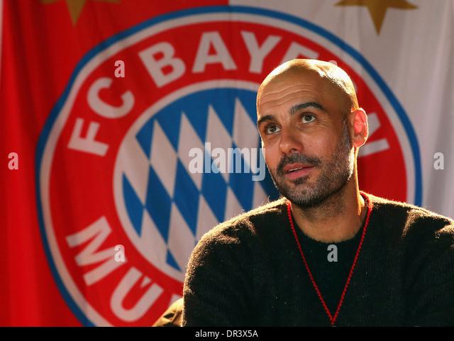Josep 'Pep' Guardiola, head coach of German Football Bundesliga Club FC Bayern Munich in front of the club - Stock Image