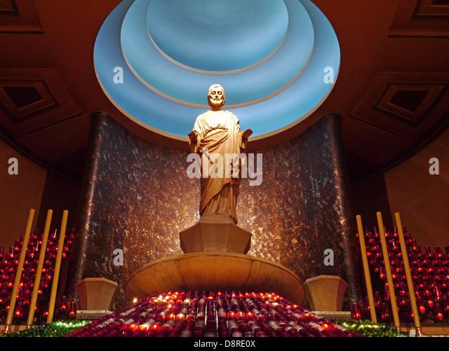 St. Joseph's Oratory Basilica Montreal, state of St. Joseph - Stock Image
