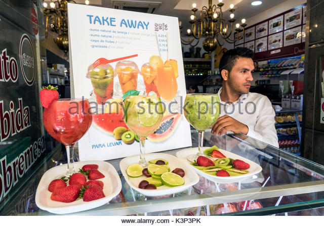 Lisbon Portugal Rossio Square Pedro IV Square Café Gelo bakery cafe casual dining fruit cups display take away - Stock Image
