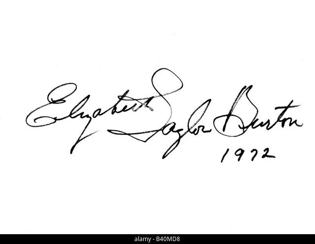 Taylor, Elizabeth (Liz), * 27.2.1932, American actress, signature 'Elizabeth Taylor Burton', autograph, - Stock-Bilder