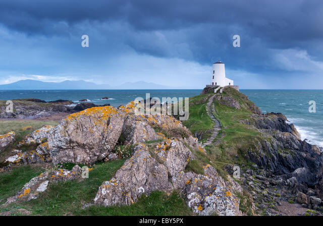 Twr Mawr lighthouse on Llanddwyn Island, Anglesey, Wales. Autumn (September) 2013. - Stock Image