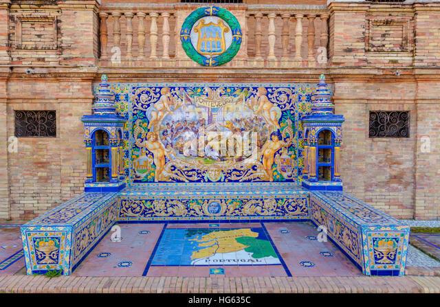 Glazed tiles bench of spanish province of Pontevedra at Plaza de Espana, Seville, Spain - Stock Image