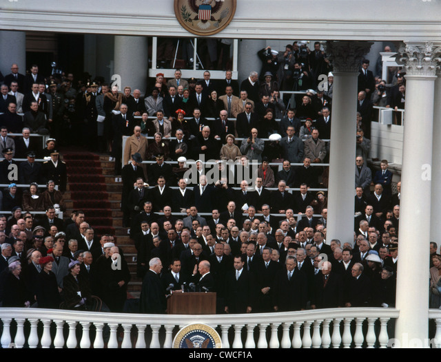 Eisenhower's second Inauguration. Chief Justice Earl Warren administering the oath of office to Dwight Eisenhower - Stock Image