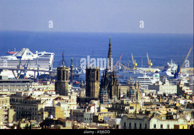 Barcelona view from Sagrada Famlia skyline cathedral harbour cruising ship  - Stock Image