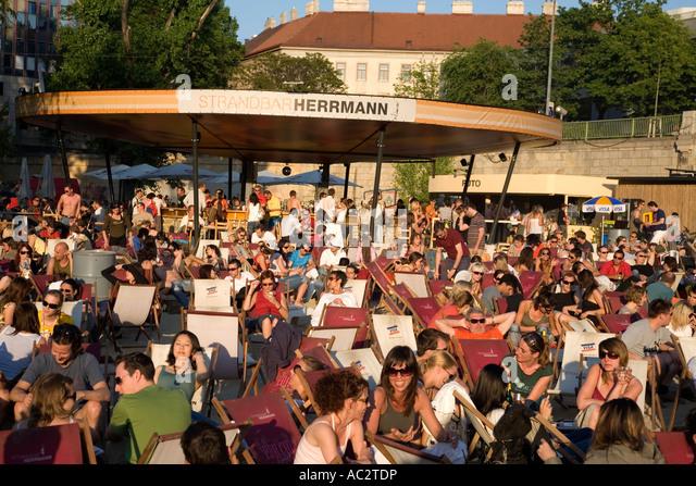 Vienna beach bar Herrmann at Donau riverside - Stock Image