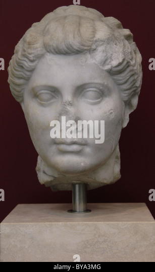 Roman Art. Unknown female head with hair in the style of Octavia, sister of Emperor Augustus. Marble. - Stock Image