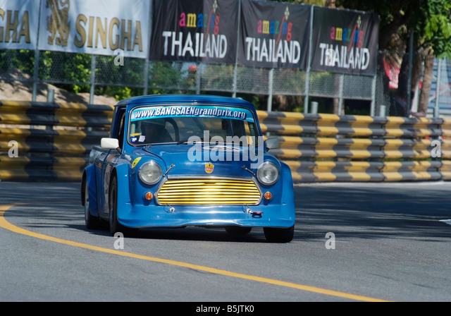 Blue Mini pickup truck racing at the city circuit of Bang Saen Speed Festival in Thailand 2008 - Stock Image